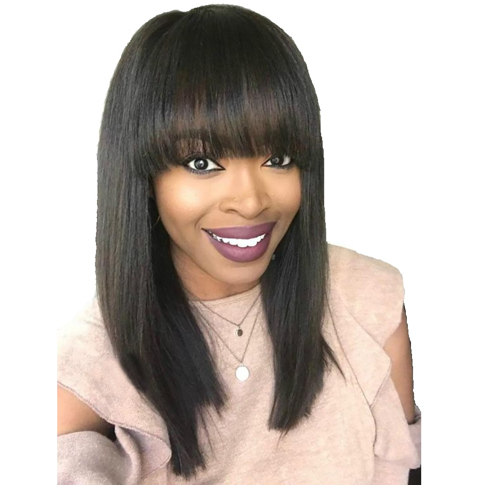 BEAUDIVA Glueless Fringe Short Human Hair Wigs For Women Black With Bang Brazilian Straight Hair Short Bob Wigs