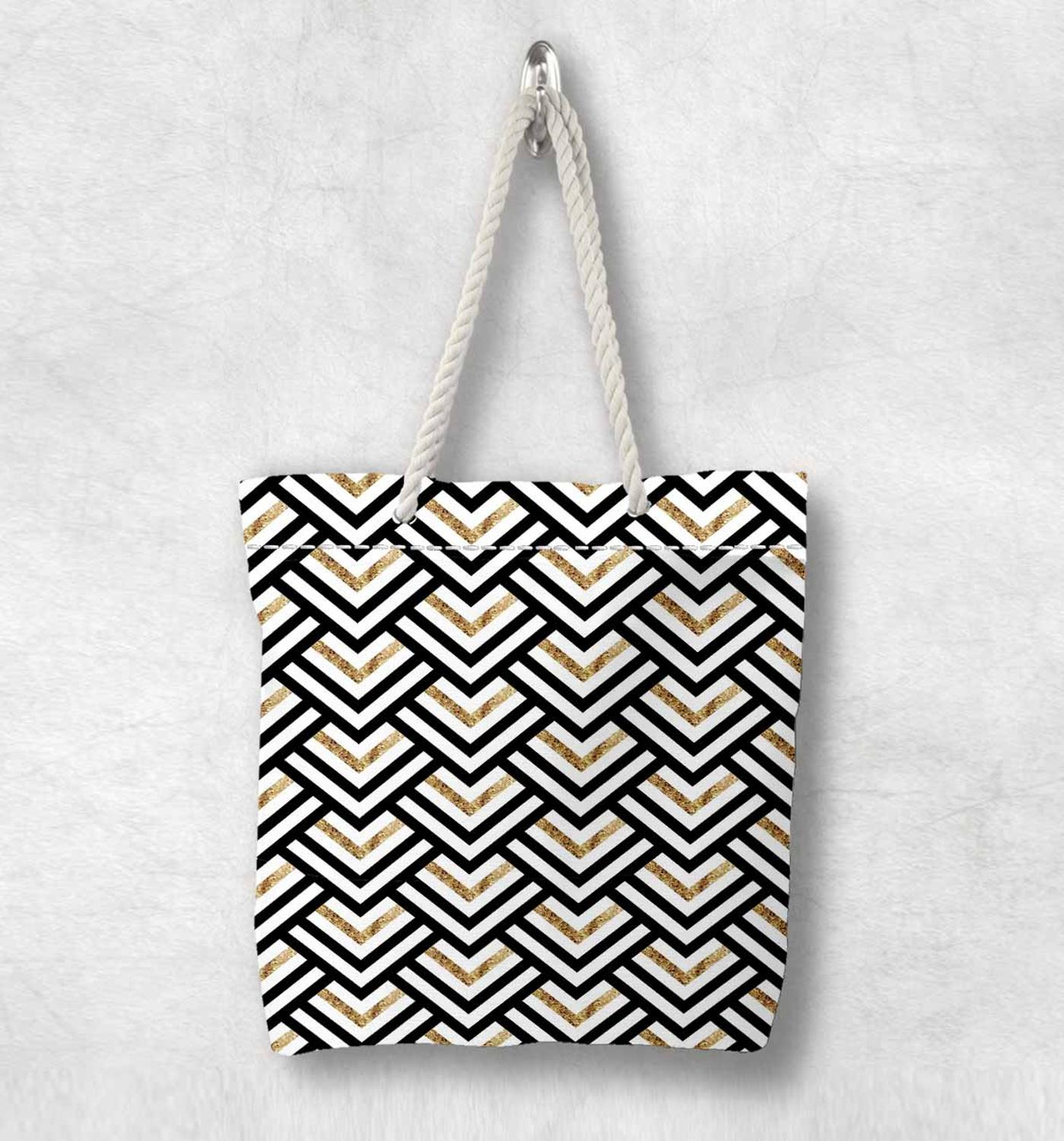Else Black White Yellow Lines Geometric New Fashion White Rope Handle Canvas Bag Cotton Canvas Zippered Tote Bag Shoulder Bag