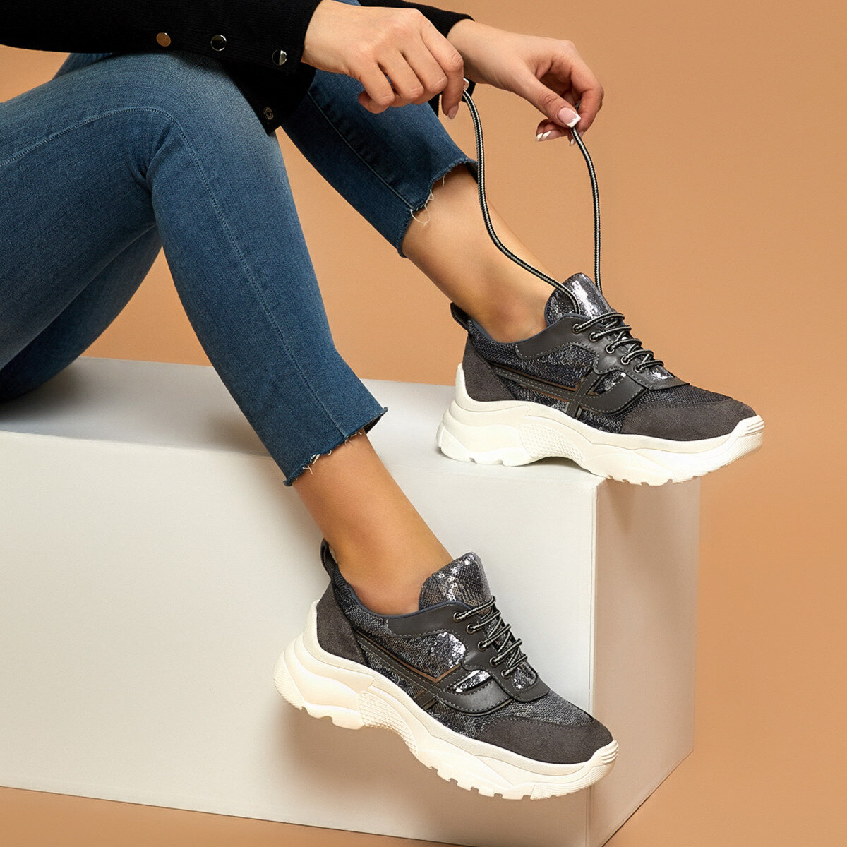FLO Women's Sneakers Casual Spring Summer Women Fashion Sneakers Vulcanized Shoes BUTIGO NUVO Gray