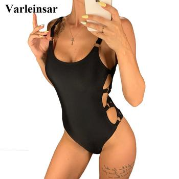 2020 Sexy Black Hollow Cut Out Full Back Women Swimwear One Piece Swimsuit Female Bather Bathing Suit Swim Wear Beach Lady V649B 1