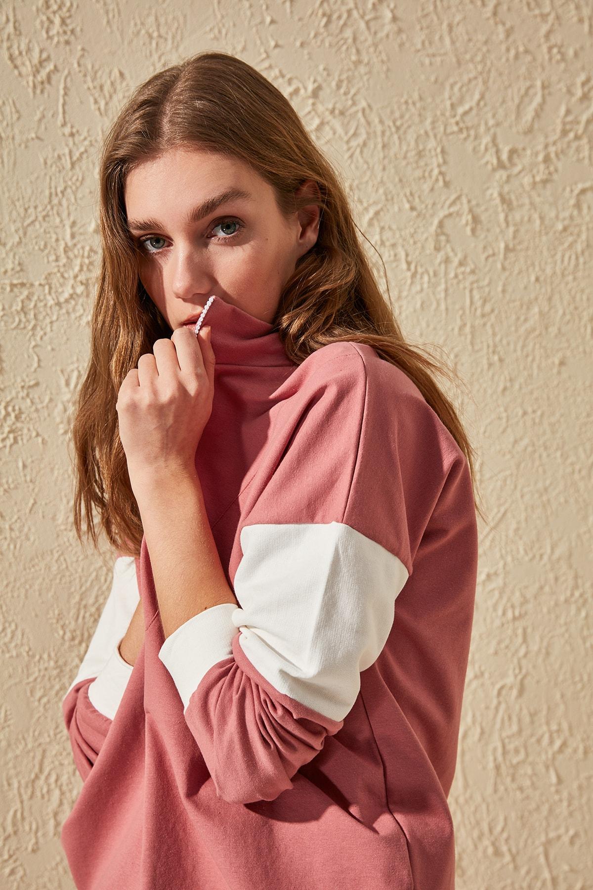 Trendyol Zipper Color Block Knitted Sweatshirt TWOSS20SW0140
