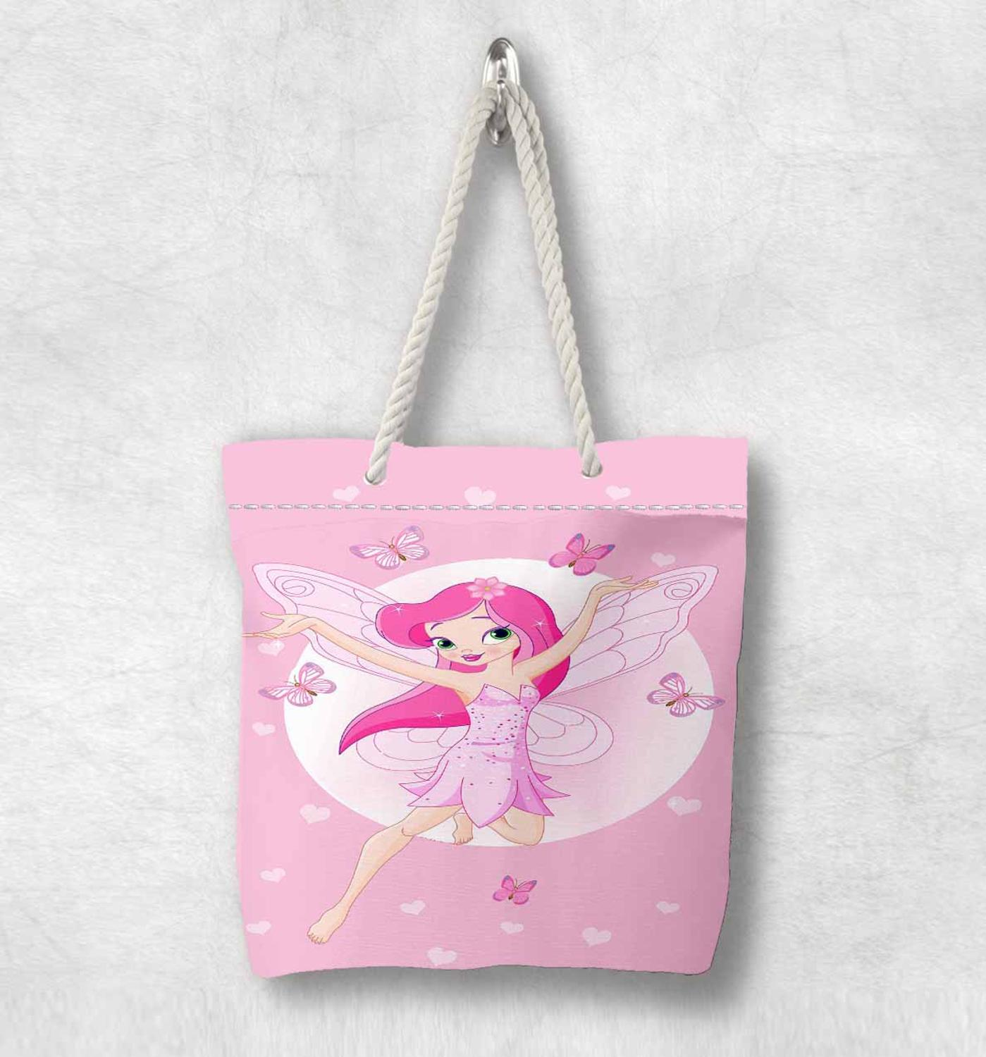 Else Pink White Fairy Girls Butterfly White Rope Handle Canvas Bag  Cartoon Print Zippered Tote Bag Shoulder Bag
