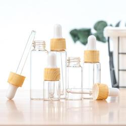 1Pcs 5/10/15/20 ML Wood Grain Essential Oil Bottles Glass Dropper Dispenser Bottle Cosmetic Containers Empty Refillable Bottles