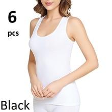 Women's Wide-Strap Cotton Flannel Cotton fabric 6 pieces Comfortable fit flexible Women's Underwear Black and White Skin Color
