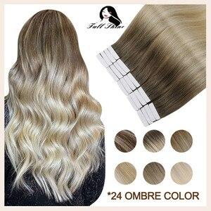 Полностью Сияющие волосы Balayage на ленте для наращивания, человеческие волосы Omber блонд цвета 100% Remy, человеческие волосы бесшовные, кожа, уток,...