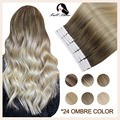 Full Shine Omber Tape in Natural Hair Extensions Human Hair Blonde Color 100% Remy Human Hair Seamless Skin Weft Glue On Hair