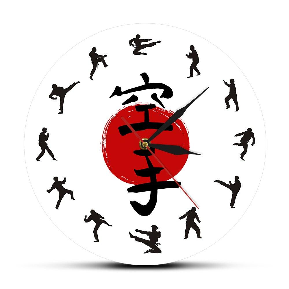 Taekwondo Karate Print Wall Clocks Karate Silhouette Silent Sweep Movement Circular Wall Watch Reloj De Pared Sportmen Gift