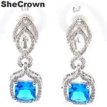 33x12mm Pretty Created Paris Blue Topaz White CZ Woman's Wedding Silver Earrings