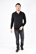 Men's Polo Collar Fronting Patterned Black Knitwear 180653