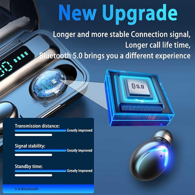 אוזניות אלחוטיות מגע אלחוטי אוזניות Bluetooth 5.0 אוזניות 2200mAh טעינת תיבת אלחוטי דיבורית HD שיחת אוזניות קל זיווג אוזניות