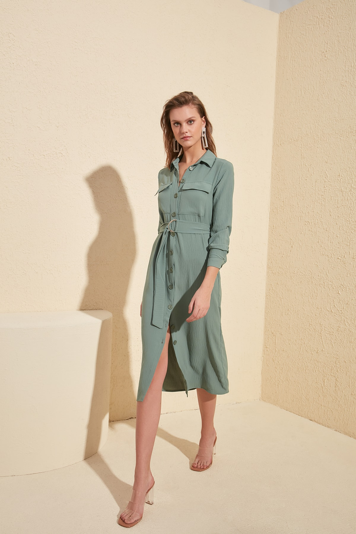 Trendyol Mint Pocket Detail Arched Dress TWOSS20EL1092
