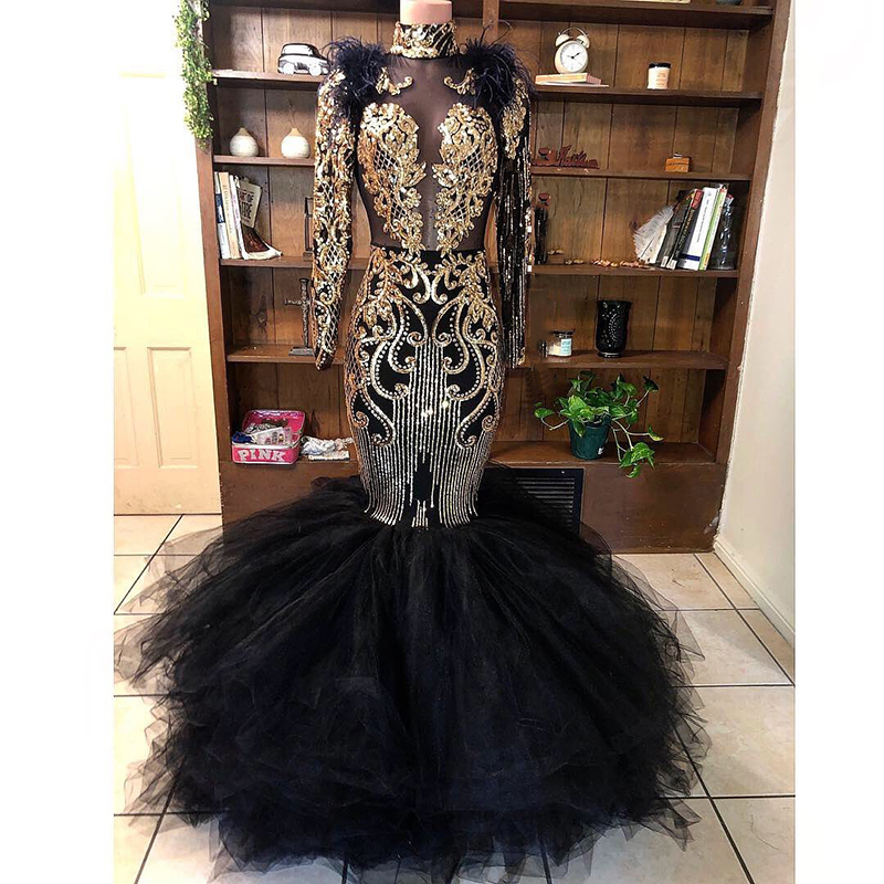 Black Mermaid Long Prom Dress African Black Girl Sexy See Through Top High Neck Gold Sequin Long Sleeve Prom Dresses 2020