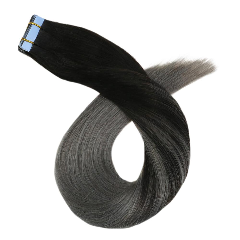 Tape In Human Hair Extensions Silver Hair Balayage Ombre 14-24'' 20P/40P Brazilian Machine Remy Hair