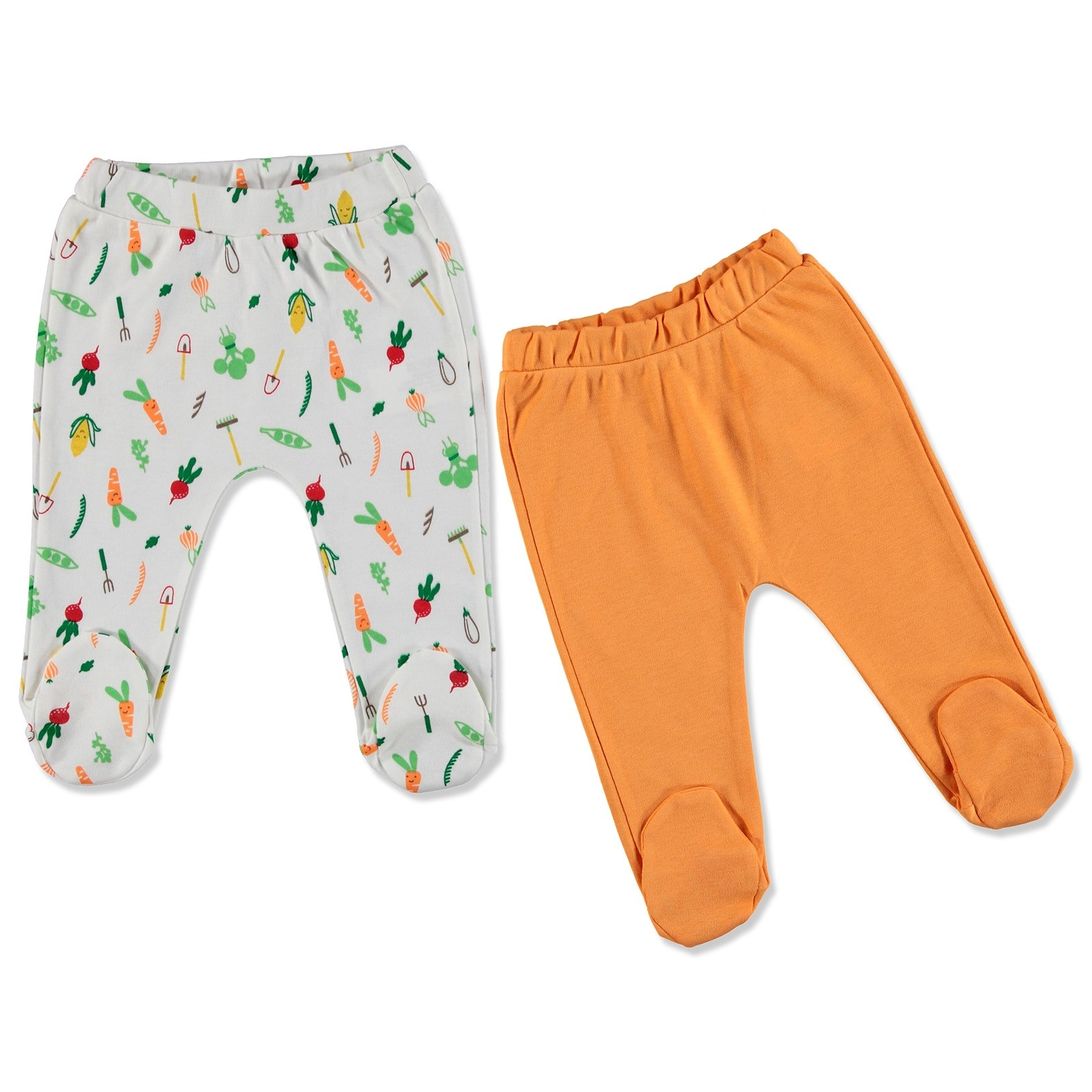 Ebebek HelloBaby Summer Baby Sweet Vegetables Footed Pant 2 Pcs