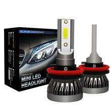 2 шт./компл. мини 1 Авто головного средства ухода за кожей Шеи светильник 9005 9006 H1 H4 H7 H11 импортный COB чип 90 Вт 12000LM белые высокие Мощность Автомобильный светодиодный светильник