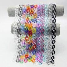Collier chaîne en acrylique transparent pour hommes et femmes, style rock punk, couleur mixte, pendentif avec boucle, bijoux