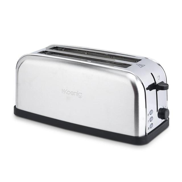 H. koenig Baguettes Toaster Pan 2 Slots Long and Wide, length 4 Slices, 1500 W, 3 Functions, 7 Levels roasting, Steel 1