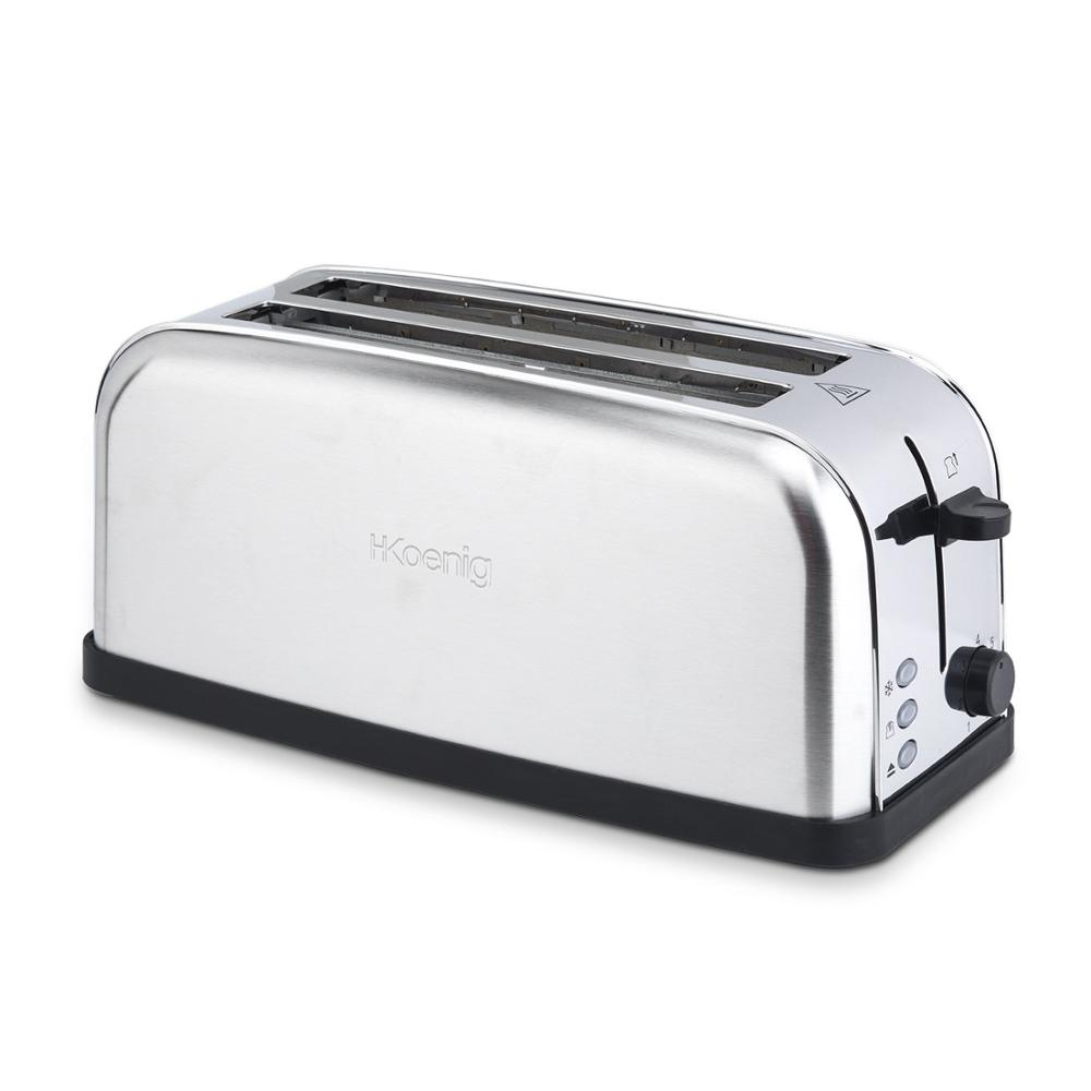 H.Koenig Baguettes Bread Toaster 2 Slots Long And Wide, Length 4 Slices, 1500 W, 3 Functions, 7 Levels Roasting, Steel