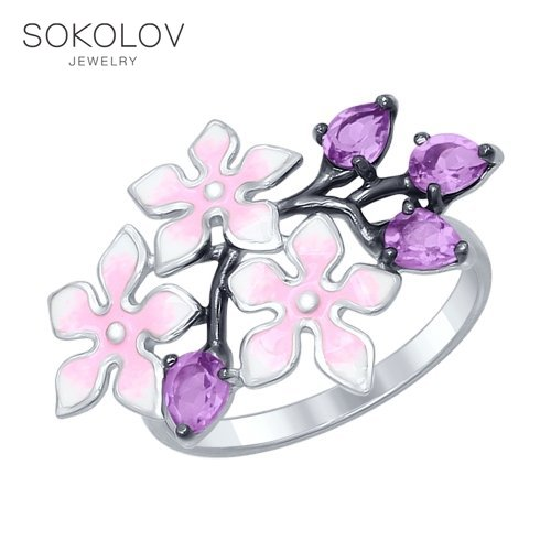 SOKOLOV Ring Of Silver With Enamel Amethyst Fashion Jewelry 925 Women's Male