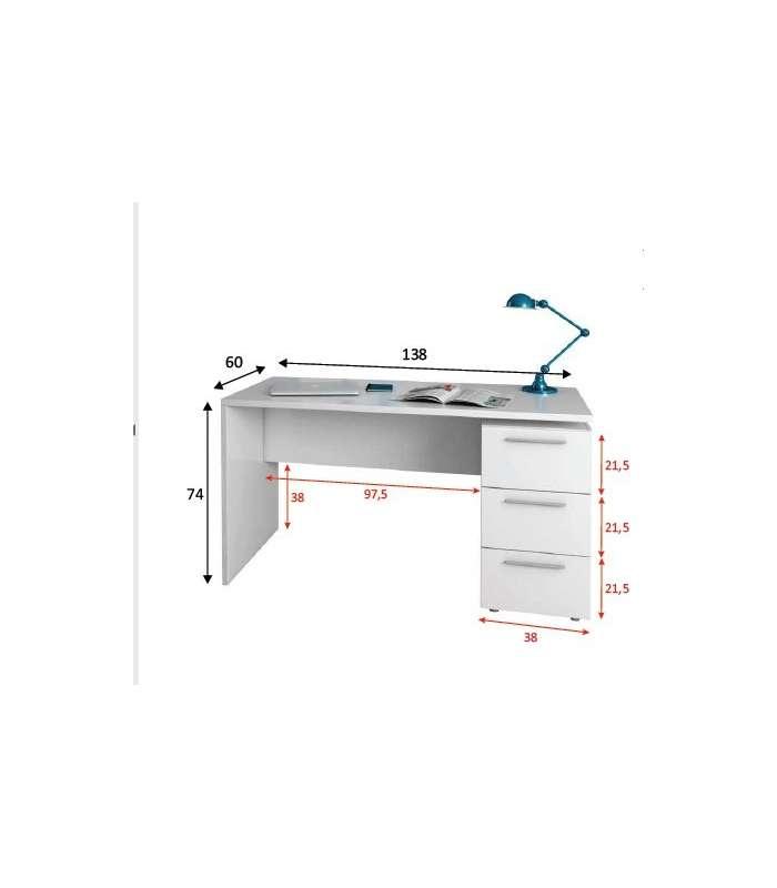 Table Dispatch Theon Three Drawers White Artik