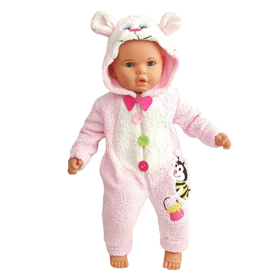 The Teddy Bears Bee Embroidered Polar Baby Costume Jumpsuit Pink