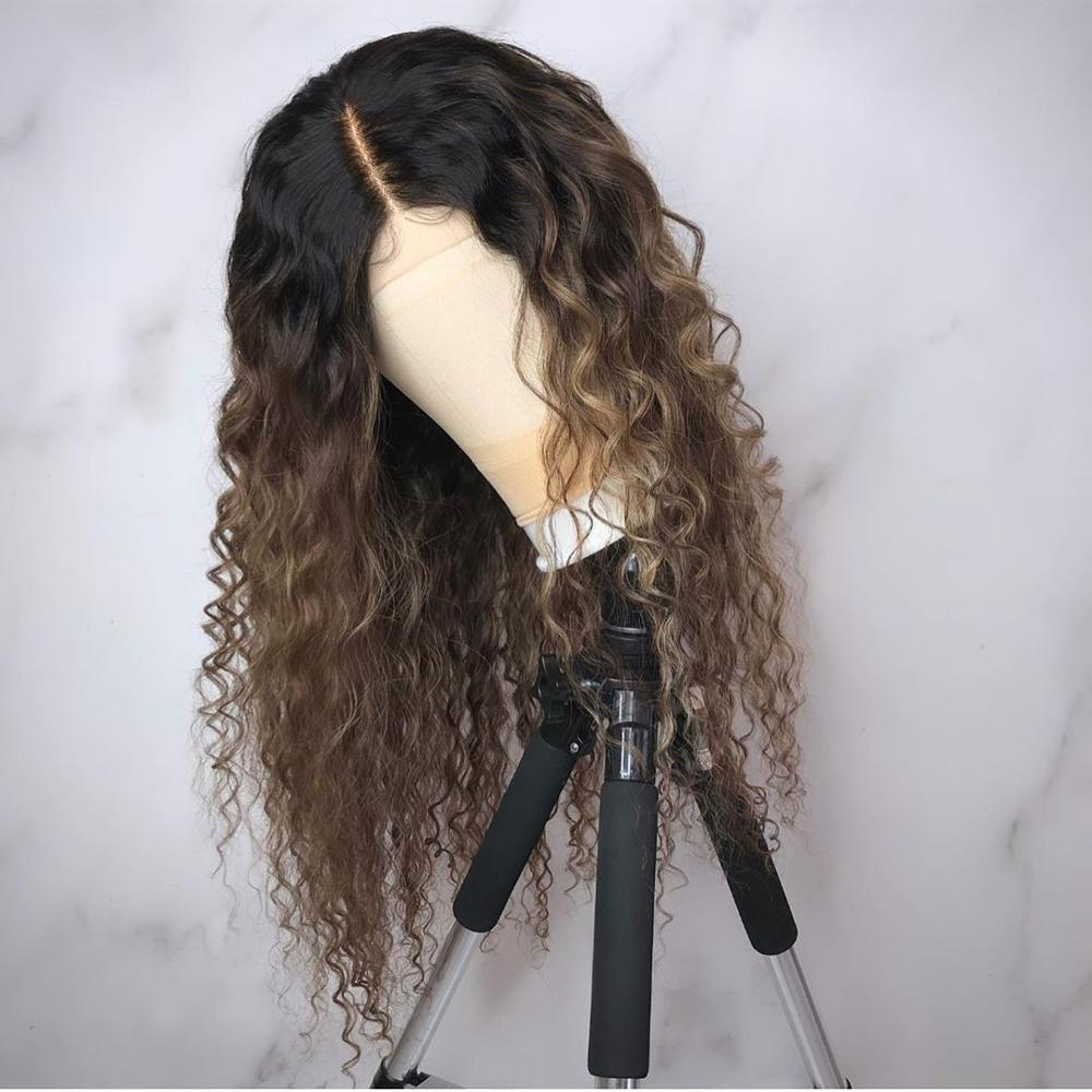 Ombre Color Curly 13x6 Lace Front Human Hair Wigs With Baby Hair Pre Plucked Remy Brazilian Lace Bob Wigs Bleached Knots