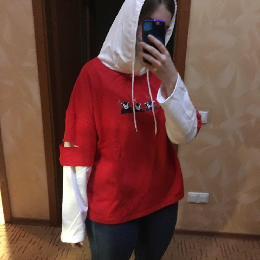 Women Casual Hoodies Kpop Harajuku Kawaii Kumamon Bear Printed Sweatshirt Contrast Color Clothes Sudadera Mujer Hoodie photo review
