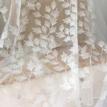 Tissu en dentelle à fleurs Alencon, blanc cassé, 135cm de large, pour robe de mariée, Couture, Tulle brodé, dentelle