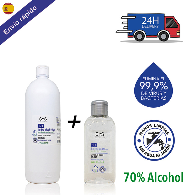 $  PACK GEL HIDROALCOHOLICO hands 1 liter + 100 ML / 70% ALCOHOL disinfectant-ANTISEPTICO-cleaning hands-ALCOHOL and ALOE VERA