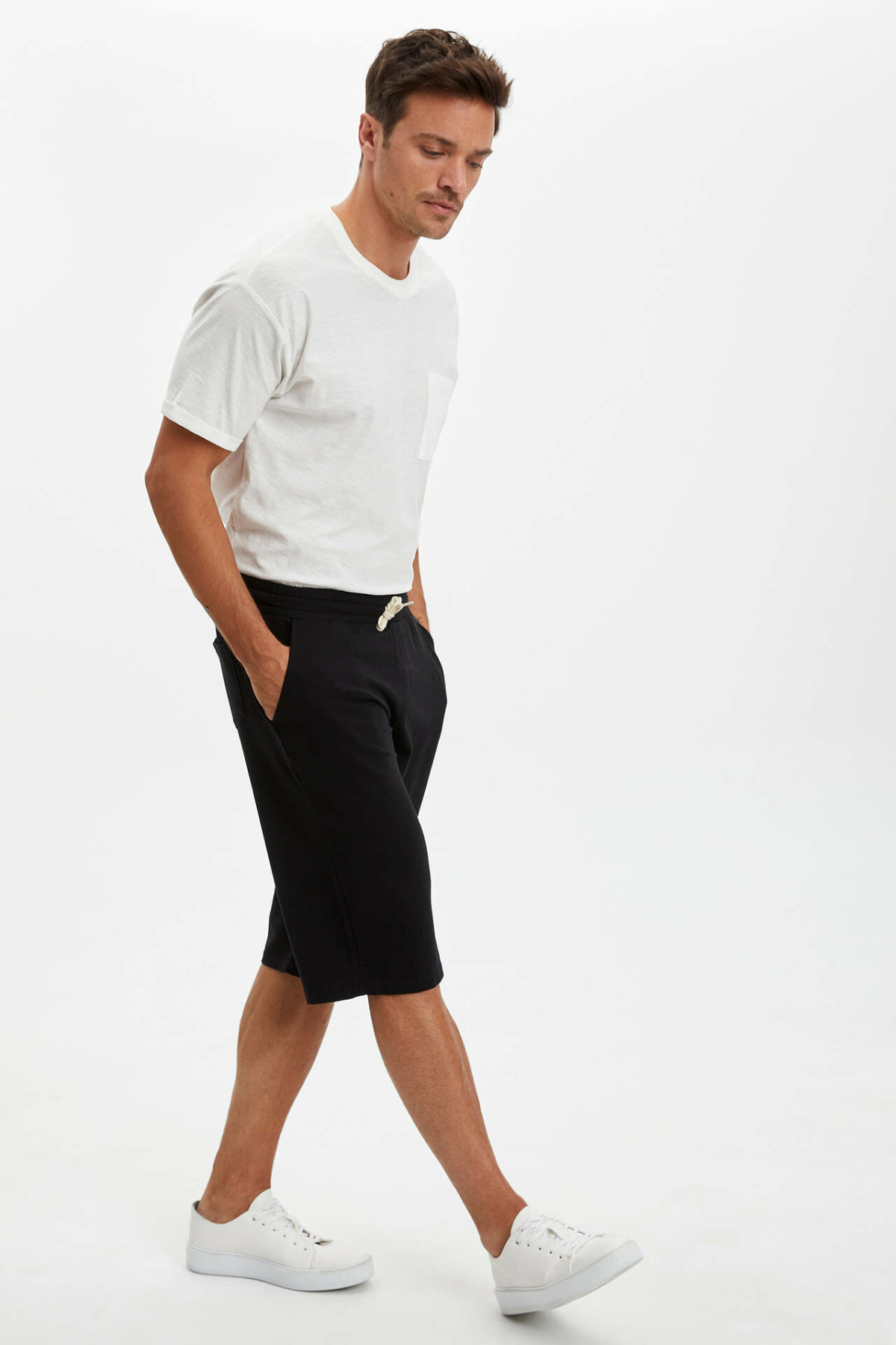 DeFacto Man's Roller Pants Men's Casual Black Bottoms Men's Summer Shorts Men's Mid-length Short Pants-N7999AZ20SM