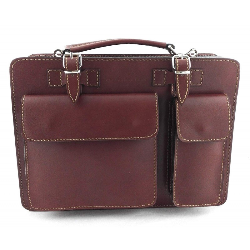 Natural Leather Briefcase With Exterior Pockets 34x10x25 Cm