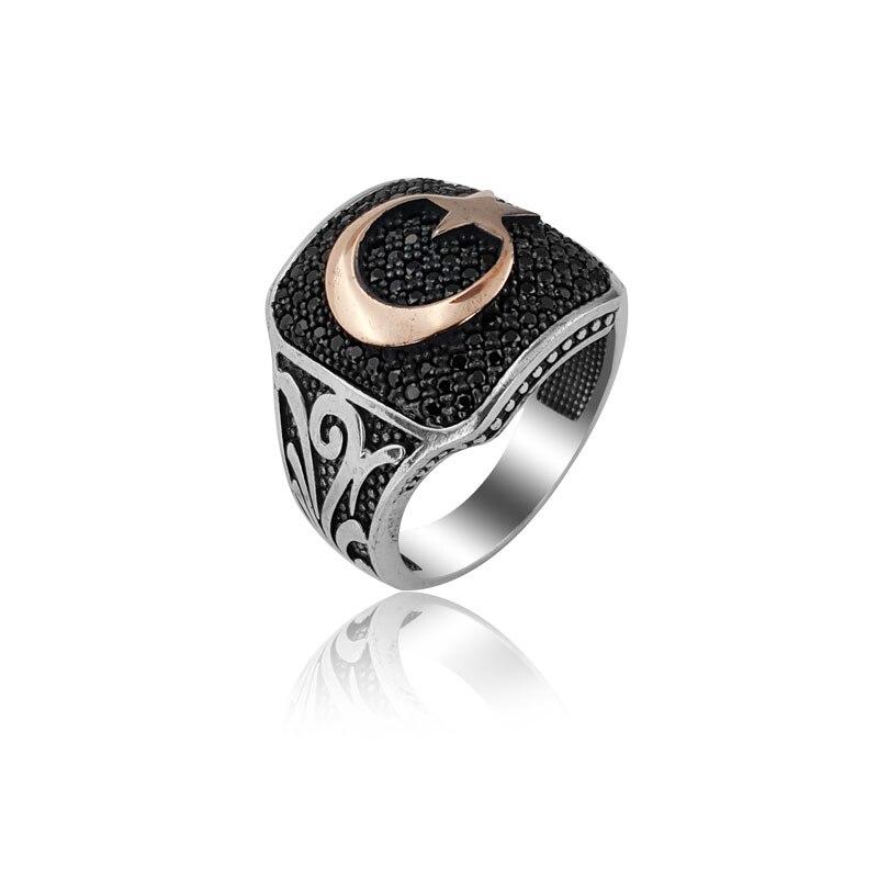 925 Silver Moon Star Traditional English Men Rings