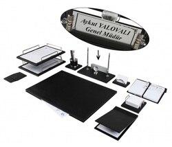 Zenia di Cuoio di Lusso Set Da Scrivania, Scrivania Pad Set con il Nome di Piatto, Doppio Vassoio, Desk Organizer, accessori Per ufficio, Accessori Da Scrivania