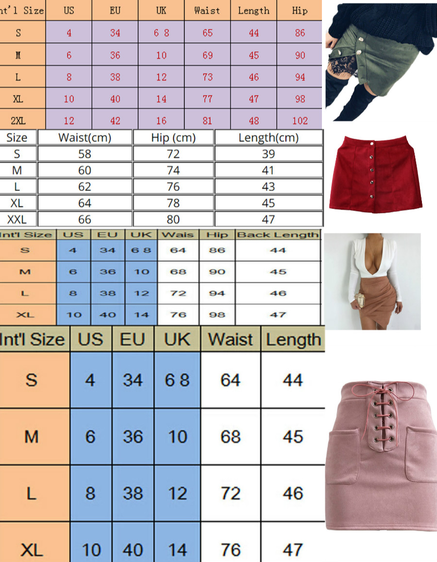 New fashion Women Ladies High Waist Pencil Skirts button lace patchwork sexy Bodycon Suede Leather split party casual Mini Skirt 23