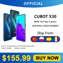 Cubot x30 8gb smartphone 48mp cinco câmera 32mp selfie nfc 256gb 6.4