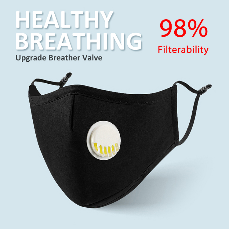 With 98% Filterability Carbon Filter Cotton PM2.5 Mouth Mask With Breath Valve Better Than KN95 FFP2 FFP1 Equivalent To FFP3