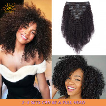 Afro Kinky Curly Clip-in Full Head Hair Extensions Human Hair 8pcs/set Mongolian Natural Color 120g Remy Hair Hair Clips