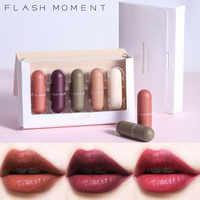 5 pçs/lote Lábio Conjunto vara Maquiagem presente de Veludo Pigmento Batom Moda Feminina Lábio Maquiagem Matte Lip Gloss Batom de longa duração kit