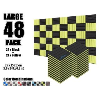 """Arrowzoom 48 pcs 9.8"""" x 9.8"""" x 0.8"""" Color Combination Flat Wedge Tile Studio Sound Absorbing Panel Acoustic Foam Treatment"""