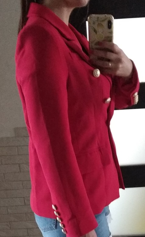 HarleyFashion European American Women Casual Blazer Double Breasted High Quality Plus Size Red Blazers reviews №4 115762