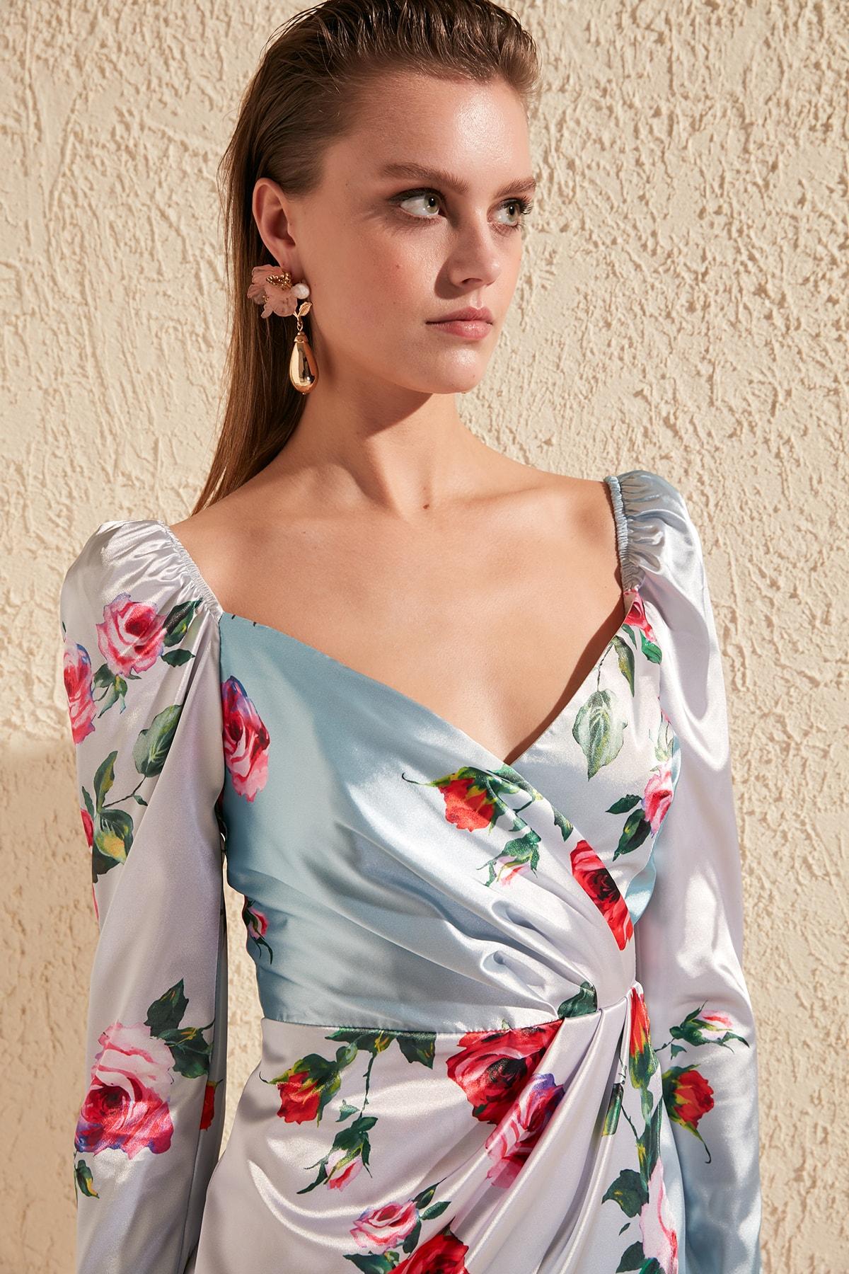 Trendyol Printing Detail Drape Dress TPRSS20EL0252