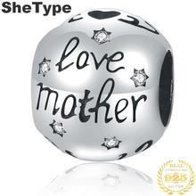 1.1x0.9cm Love Mom Mother's Day Gift 2.0g Charm Silver 925 Sterling Silver Style Charms Jewelry DIY 2019