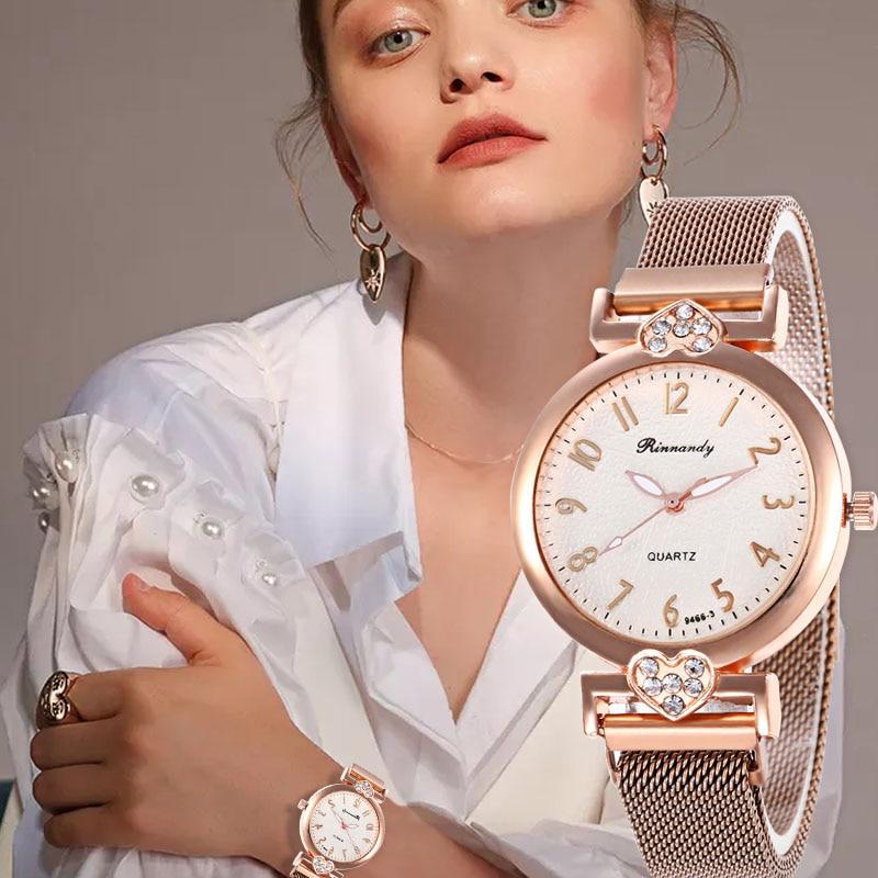 WJ-8567 Rhinestone Magnetic Buckle Watch For Women Luxury Steel Strap Watches Fashion Dress Quartz Wristwatch Clock Relogio Luxe