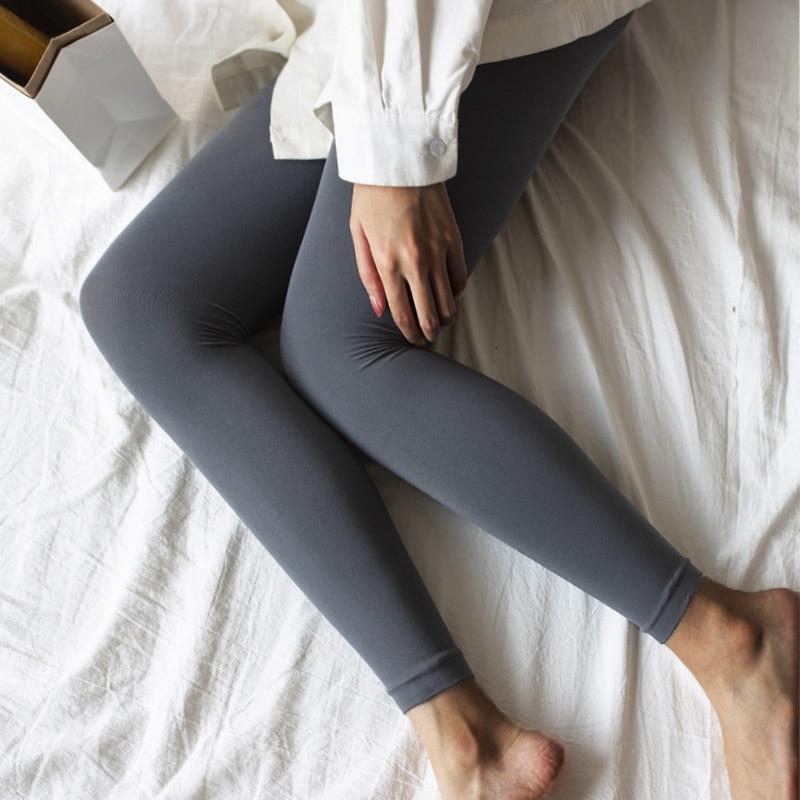 Mitte Taille Leggings Mode Frauen Casual Hohe Elastische Legging Wärmer Einfarbig Körper Former Hosen Weibliche Knöchel-länge Hosen