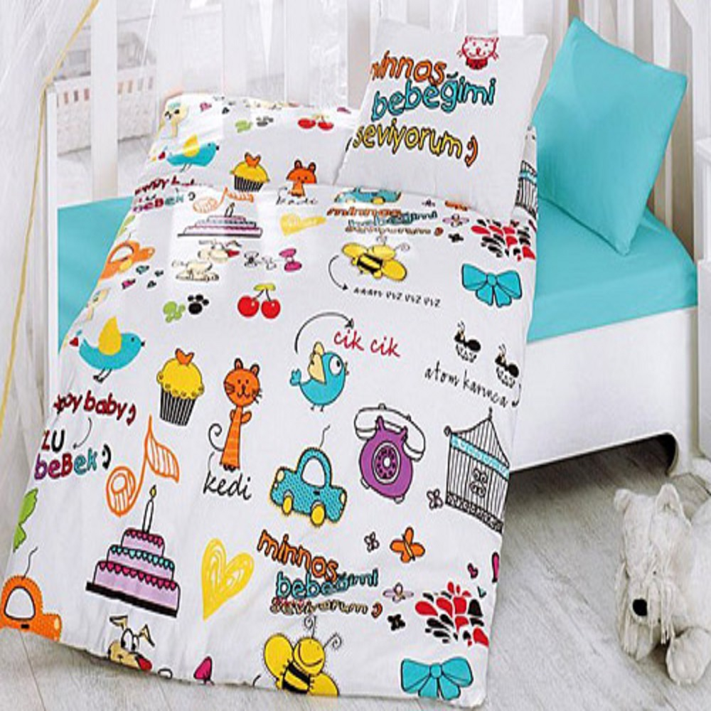 Made In Turkey HAPPY Baby Bedding Duvet Cover Set Crib For Boy Girl Cartoon Animal Baby Cot Cotton Soft Antiallergic