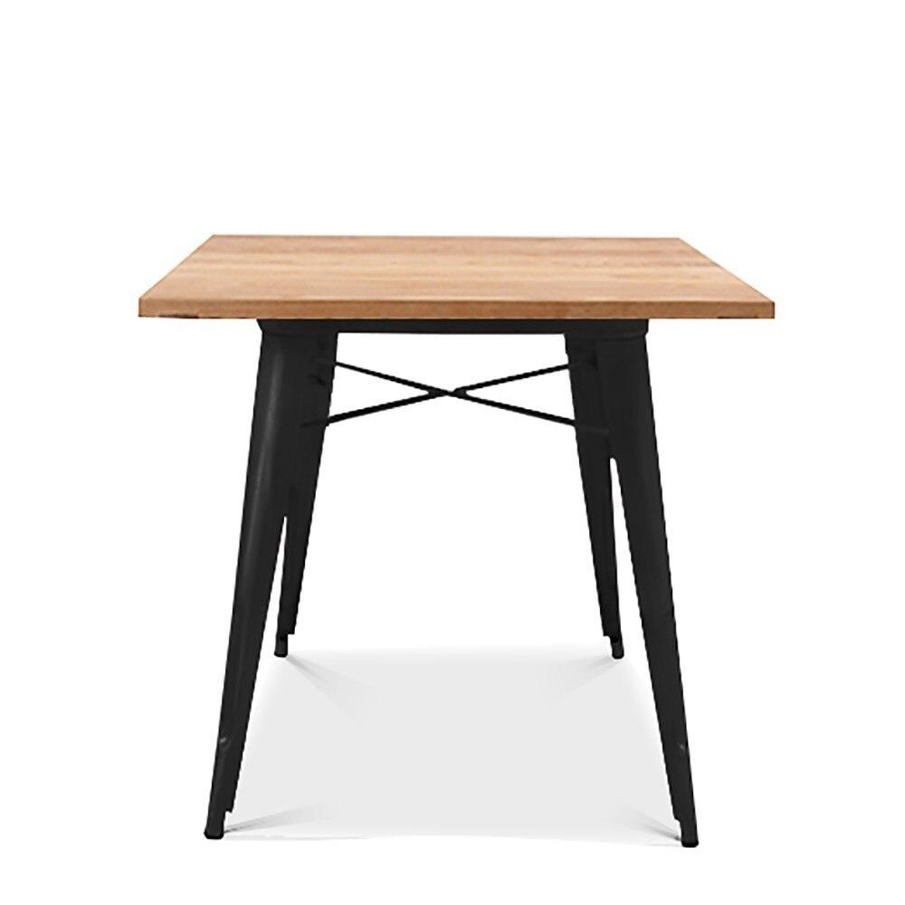 Table TOL, Steel, Black, Wood, 80x80 Cms