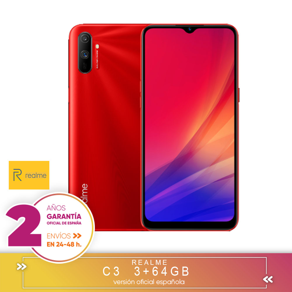 [Official Spanish Version Warranty] Realme C3 3 + 64 Hard GB,MediaTek Helio G70,6,5 Inch, Resolution HD +, Double Camera, Android 10