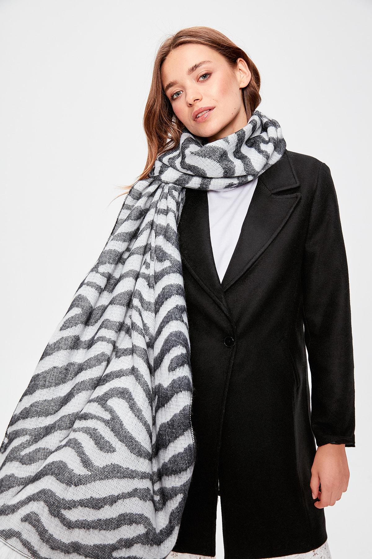 Trendyol Soft Textured Zebra Pattern Scarf TWOAW20AT0042