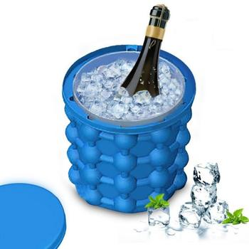 Silicone Ice Cube Maker Bucket 2 -1 Mold Wine Cooler Ice Drinking Freeze Beer Whiskey Cabinet with Lid for Kitchen Party Barware ice cube maker silicone bucket durable drink beer wine rapid cooling storage drinking whiskey freeze seaside tool 4 7 inch