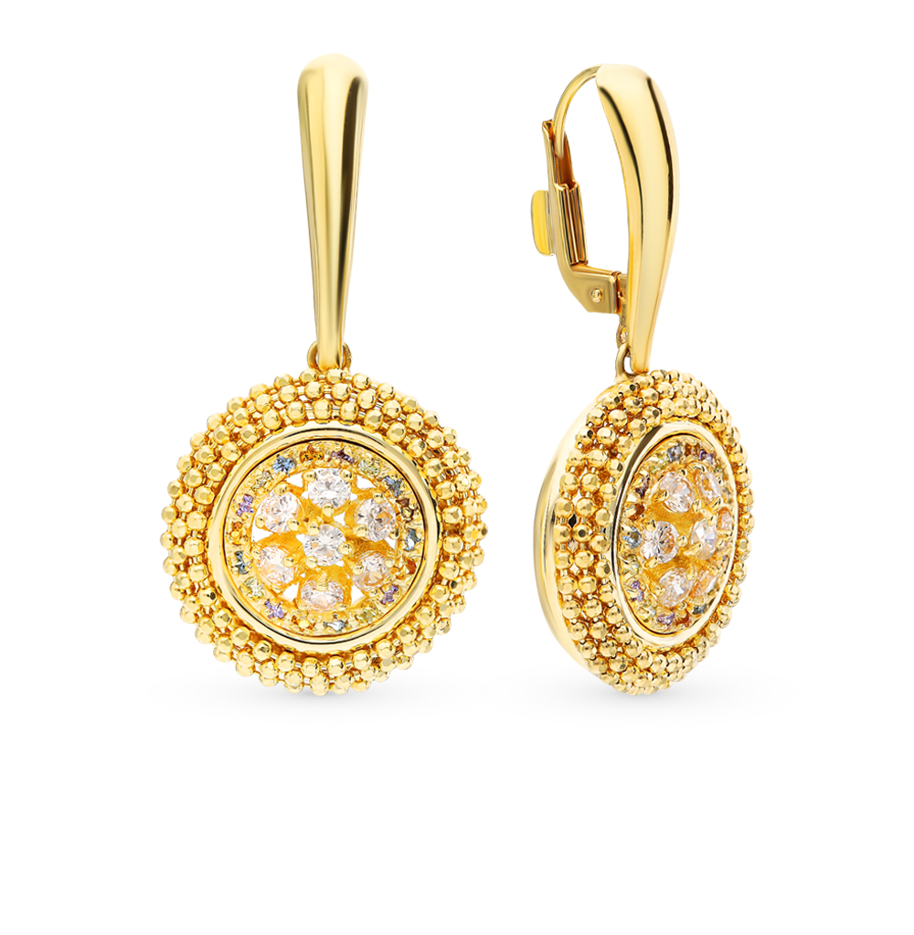 Gold earrings with cubic zirconia SUNLIGHT test 585